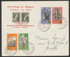 """Erinnophilie - E22/25 Sur Lettre """"Croix-rouge De Belgique"""" De Bruxelles 39 22/12/41 Vers Bruxelles / Guerre 40-45. TB - Erinnophilie"""