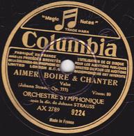 78 Trs - 25 Cm - état TB - AIMER BOIRE & CHANTER - LE BAISER  - ORCHESTRE SYMPHONIQUE - 78 T - Disques Pour Gramophone