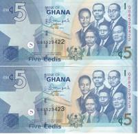 PAREJA CORRELATIVA DE GHANA DE 5 CEDIS DEL AÑO 2014 SIN CIRCULAR - UNCIRCULATED (BANKNOTE) - Ghana