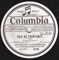 78 Trs - 25 Cm - état B - VOIX DU PRINTEMPS - RADETZKY - ORCHESTRE SYMPHONIQUE  Johann STAUSS - 78 T - Disques Pour Gramophone