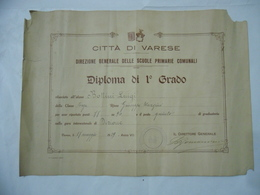 FASCISMO VARESE DIPLOMA DI 1°GRADO SCUOLE PRIMARIE COMUNALI 1929 - Diplomi E Pagelle