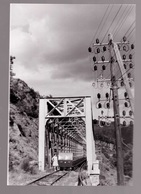 Photo (Unique ?) Format CP Avec Train La Draisine Sur Pont De St MARTIN DE VALAMAS Années 1950/60 - Saint Martin De Valamas