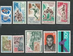 CONGO Scott 168, 198-9, C72-5, C77, C82, C84 Yvert 215, 243-4, PA74-7, PA79, PA84, PA86 (10) ** Cote 9,50 $ 1967-9 - Congo - Brazzaville