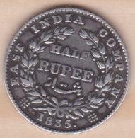 British India, Half Rupee 1835  , William IIII , En Argent  . RARE - Inde