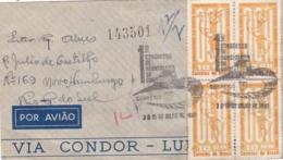 BRESIL  :  Bloc De 4 Du No 734 Sur Lettre Via Condor . 1er Jour De 1963 - Brazilië