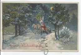 Herzliche Weihnachtsgrüsse. Père Noël Sur Un Traîneau à Cheval Guidé Par Un Ange Sur Un Chemin Enneigé. - Santa Claus