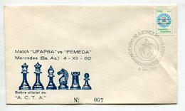 SOBRE MATCH UFAPBA VS FEMEDA MATASELLO ENCUENTRO DE AJEDEZ 50 TABLEROS MERCEDES ARGENTINA 1982  -LILHU - Schaken