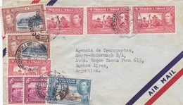 ENVELOPPE CIRCULEE TRINIDAD Y TOBAGO TO ARGENTINE AIRMAIL 1950 MIXED STAMPS 4 COLOR, STAMP A PAIR - BLEUP - Trindad & Tobago (...-1961)