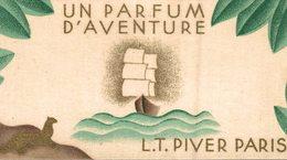 CHROMO PARFUMEE AVEC UN PARFUM D'AVENTURE L.T. PIVER PARIS CALENDRIER ANNEE 1939 - Cromos