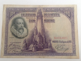 Billete 100 Pesetas. 1928. España. Cervantes. Sin Serie. Baja Numeración. 31.693 - [ 1] …-1931 : Primeros Billetes (Banco De España)