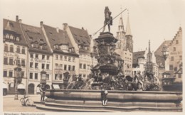 Nuernberg Germany, Neptunbrunnen Neptune Fountain, Many Business Signs, C1920s Vintage Real Photo Postcard - Nuernberg