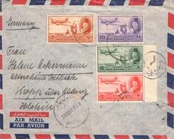 EGYPT - AIR MAIL LETTER 1951 -> KROPP/GERMANY Mi #305, 308-310 - Luftpost