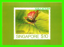 TIMBRES REPRÉSENTATIONS - SINGAPORE, LONGHORNED GRASSHOPPER, SCAMBOPHYLLUM SANGUINOLENTUM - AMERIPEX, 1986 CHICAGO - - Stamps (pictures)
