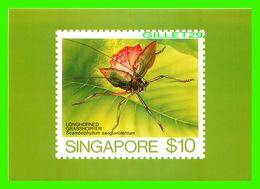 TIMBRES REPRÉSENTATIONS - SINGAPORE, LONGHORNED GRASSHOPPER, SCAMBOPHYLLUM SANGUINOLENTUM - AMERIPEX, 1986 CHICAGO - - Timbres (représentations)