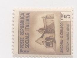Sello República Social Italiana. 5 Cts. Fascista. II Guerra Mundial. 1939-1945. Ancona, San Ciriaco. Sin Circular - Ungebraucht