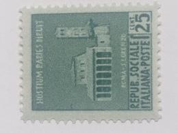 Sello República Social Italiana. 25 Cts. Fascista. II Guerra Mundial. 1939-1945. Roma, San Lorenzo. Sin Circular - 4. 1944-45 República Social