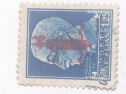 Sello República Social Italiana. 1,25 Liras. Fascista. II Guerra Mundial. 1939-1945. Rey Vittorio Emmanuele - 4. 1944-45 Repubblica Sociale
