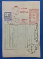 1985 AFFRANCATURA MECCANICA ROSSA EMA RED SU BOLLETTINO PACCHI - MEPRA SPA LUMEZZANE S.A. BRESCIA - Affrancature Meccaniche Rosse (EMA)