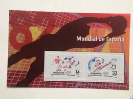 Hoja Bloque 2 Sellos. Mundial De Fútbol 1982. España. Sin Circular. Reproducción Actual De Los Sellos Autorizada - Herdenkingsblaadjes