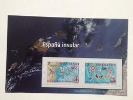 Hoja Bloque 2 Sellos. España Insular. Islas Canarias. Baleares. España. Sin Circular. Reproducción Actual De Los Sellos - Souvenirbögen
