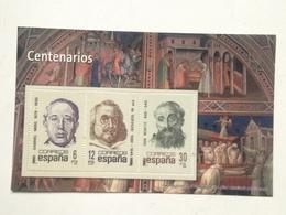 Hoja Bloque 3 Sellos. Centenarios Francisco De Quevedo, Gabriel Miró, San Benito. España. Sin Circular. Reproducción Act - Souvenirbögen