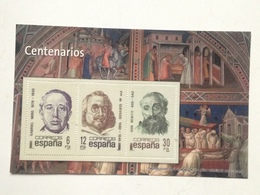 Hoja Bloque 3 Sellos. Centenarios Francisco De Quevedo, Gabriel Miró, San Benito. España. Sin Circular. Reproducción Act - Hojas Conmemorativas