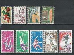 CONGO Scott 288, 292-294, C148-C150, C177-C178 Yvert 338, 342-344, PA150-PA152, PA179-PA180 (9) ** Cote 12,50 $ 1973 - Congo - Brazzaville