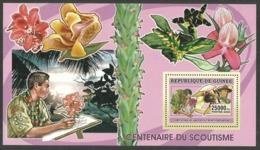 GUINEA 2006 BOY SCOUTS FLOWERS ORCHIDS M/SHEET MNH - Guinea (1958-...)