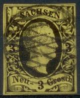 Altdeutschland Sachsen 1851, 1 Freimarke König Friedrich August, Mi. # 6, Gestempelt Und Geprüft: RISMONDO BPP - Saxe