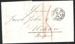 Précurseur 1859 BALE/BASEL Vers Wohlen (pli Complet) - ...-1845 Prefilatelia