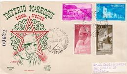 Postal History Cover: North Maroc Short Set From 1956 On Used FDCs, Very Scarce! - Maroc Espagnol