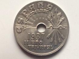 Moneda 25 Céntimos. 1937. Falange. Guerra Civil. II Año Triunfal. España. General Franco. Original. Hecha En Viena - [3] 1936-1939: Bürgerkrieg
