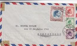 ENVELOPPE AIRMAIL CIRCULEE 1954 TRIPOLI LIBYA A MONTEVIDEO, URUGUAY,  4 COLOR STAMPS - BLEUP - Libië