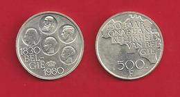 500 FR  Cupro Nickdel Argenté  - 5 Rois -   1980 FR - 1951-1993: Baudouin I