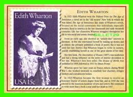 TIMBRES REPRÉSENTATIOINS - GREAT AMERICAN WRITERS, EDITH WHARTON (1862-1937) - STAMP ISSUE DATE,1980 - Timbres (représentations)