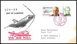 9751/ Espace (space Raumfahrt) Lettre (cover) 23/10/1989 Sts-34 Houston Day Of Landing Shuttle (navette) USA - Lettres & Documents
