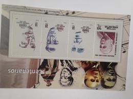 Hoja Bloque 4 Sellos. Centenarios Indalecio Prieto, Joaquín Turina, Francisco Salzillo. Antonio Soler. España. Sin Circu - Herdenkingsblaadjes