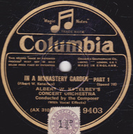 78 Trs - 25 Cm - état TB - IN A MONASTERY GARDEN  PART 1 Et 2 - ALBERT W. KETELBEY'S - CONCERT ORCHESTRA - 78 T - Disques Pour Gramophone