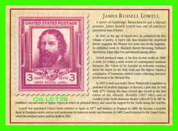 TIMBRES REPRÉSENTATIOINS - GREAT AMERICAN WRITERS, JAMES RUSSELL LOWELL (1819-1891) - STAMP ISSUE DATE,1940 - - Timbres (représentations)