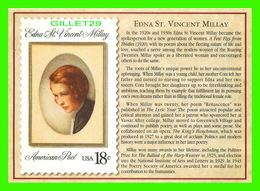 TIMBRES REPRÉSENTATIOINS - GREAT AMERICAN WRITERS, EDNA ST VINCENT MILLAY (1892-1950) - STAMP ISSUE DATE,1981 - Timbres (représentations)