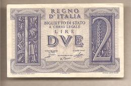 "Italia - Banconota Circolata SPLENDIDA Da 2 Lire ""Impero"" P-27 - 1939 - [ 1] …-1946: Königreich"