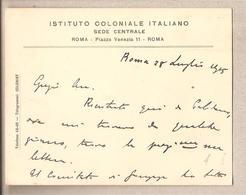 Italia - Istituto Coloniale Italiano - 28/07/1915 * G - Manoscritti