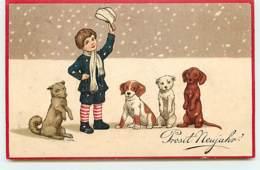 N°10382 - Carte Fantaisie - Prosit Neujahr - Enfant Et Chiens - Teckel - Nouvel An