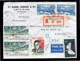 MADAGASCAR Enveloppe Cover En Recommandé Du 05 04 1962 Antsirabe Pour Nantes France. - Madagascar (1960-...)