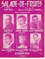40 60 ANNIE CORDY PARTITION LUIS MARIANO SALADE DE FRUITS BOURVIL ALTÉRY POURCEL JOUVIN 1959 GUITARE SAX CLARINETTE ACCO - Musique & Instruments