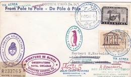 RARISIME ENVELOPE CIRCULEE 1962/4 DE POLE A POLE RECOMMANDE PAR AVION AUTRES MARQUES SIGNEE- BLEUP - Polar Flights