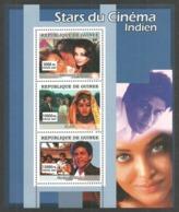 GUINEA 2007 INDIAN CINEMA KAJOL AISHWARYA RAI SHAHRUKH KHAN FILMS M/SHEET MNH - Guinea (1958-...)