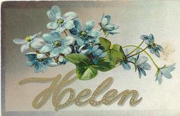 5-CARD CON NOME-HELEN-CARD AMERICANA VIAGGIATA 1914 IN RILIEVO - Nomi