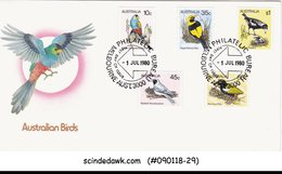 AUSTRALIA - 1980 AUSTRALIAN BIRDS / BIRD - 5V - FDC - Birds