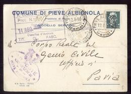 PIEVE ALBIGNOLA - PAVIA 1939 CARTOLINA INTESTATA - Pavia
